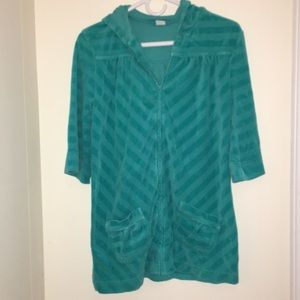 Turquoise XL girls swim cover up with a hoodie